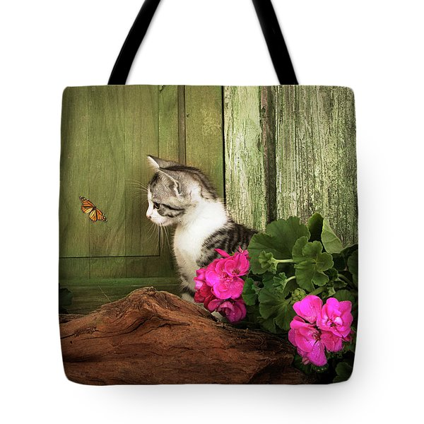 One Cute Kitten Waiting At The Door Tote Bag