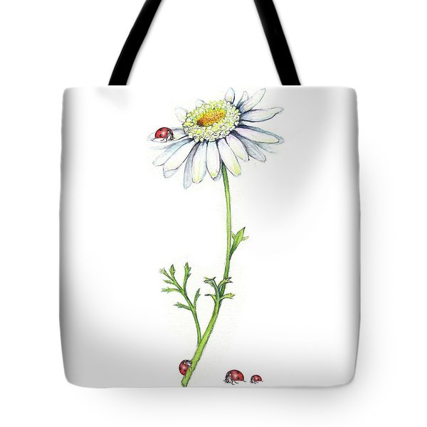 Tote Bag featuring the painting One Daisy And Four Ladybugs by Heidi Kriel