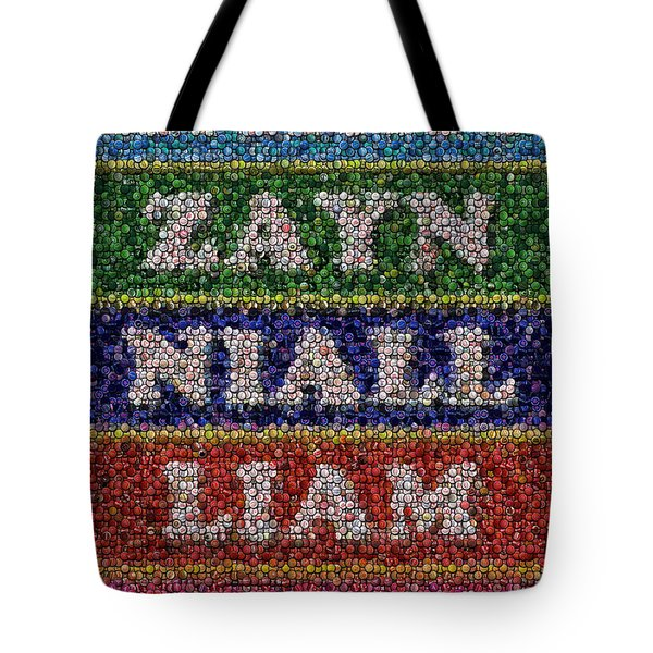 One Direction Names Bottle Cap Mosaic Tote Bag by Paul Van Scott
