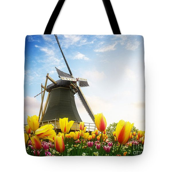 One Dutch Windmill Over  Tulips Tote Bag