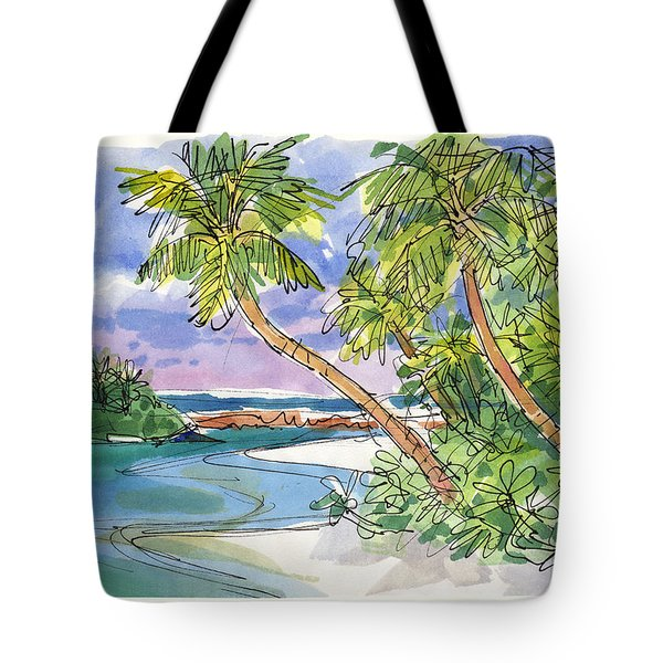 Tote Bag featuring the painting One-foot-island, Aitutaki by Judith Kunzle