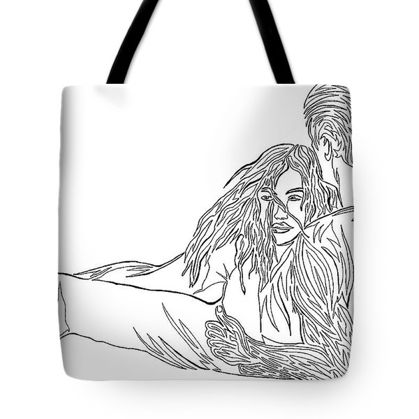 Tote Bag featuring the mixed media One Line Drawing Lovers On The Beach by Vicki  Housel