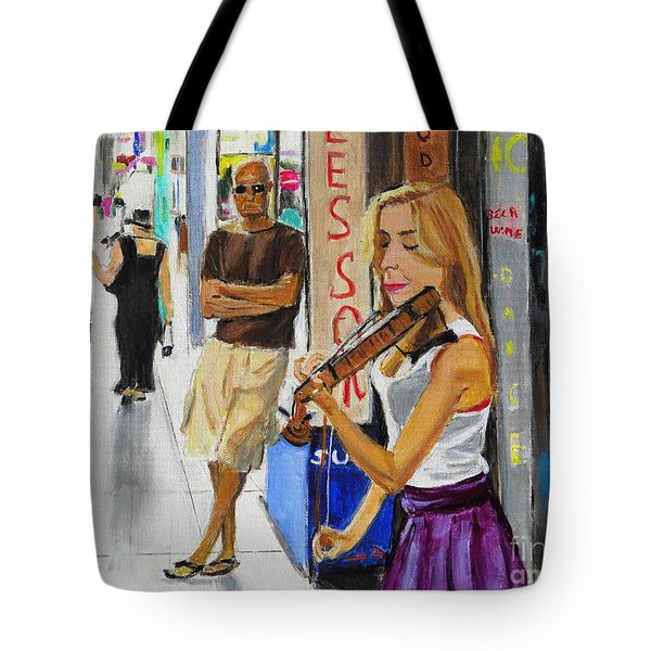 Tote Bag featuring the painting One Man Show by Judy Kay