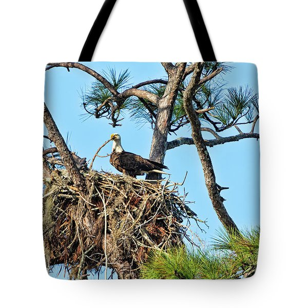 Tote Bag featuring the photograph One More Twig by Deborah Benoit