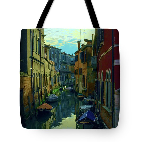 one of the many Venetian canals at the end of a Sunny summer day Tote Bag