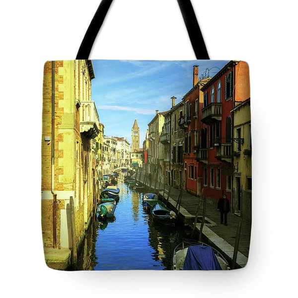 one of the many Venetian canals on a Sunny summer day Tote Bag