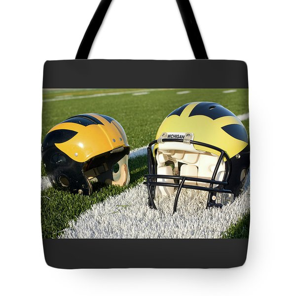 One Old, One New Wolverine Helmets On The Field Tote Bag