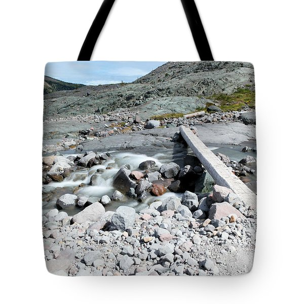 One Person Plank Across The Stream Tote Bag