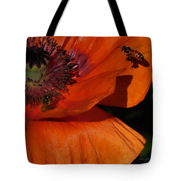 One Poppy And A  Bee Tote Bag