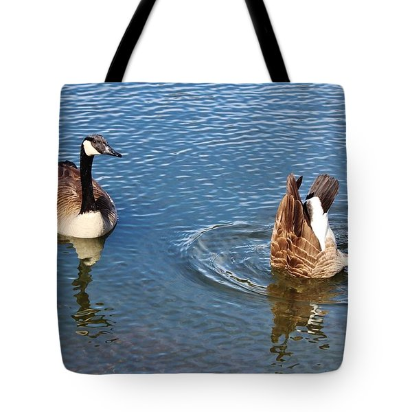 One Up One Down Tote Bag by Cynthia Guinn