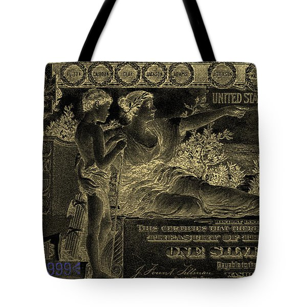 Tote Bag featuring the digital art One U.s. Dollar Bill - 1896 Educational Series In Gold On Black  by Serge Averbukh