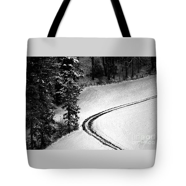 Tote Bag featuring the photograph One Way - Winter In Switzerland by Susanne Van Hulst