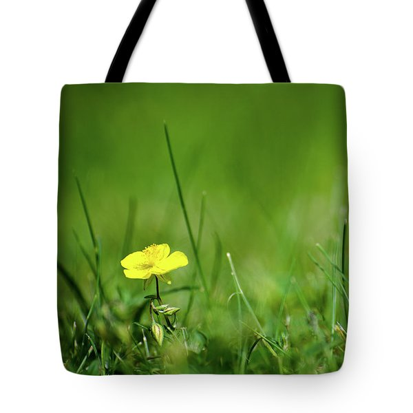 Tote Bag featuring the photograph One Yellow Flower Surrounded Of Greenery by Kennerth and Birgitta Kullman