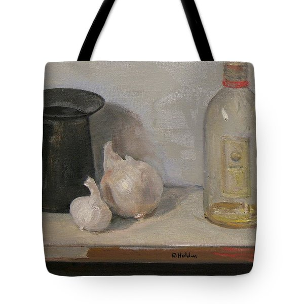Onion And Garlic,tin Can, And Painting Medium Bottle Tote Bag