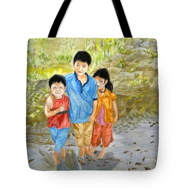 Tote Bag featuring the painting Onion Farm Children Bali Indonesia by Melly Terpening