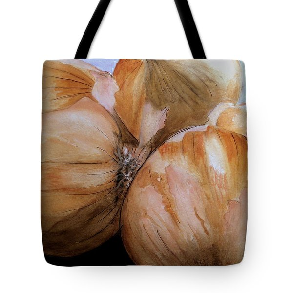 Tote Bag featuring the painting Onions by Carol Grimes