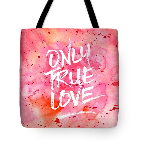 Only True Love Handpainted Abstract Watercolor Red Pink Orange Tote Bag
