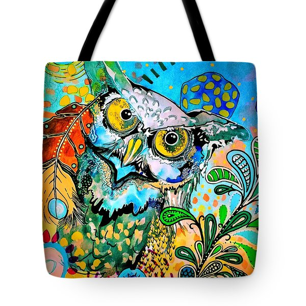 Tote Bag featuring the painting Oogke Owl by Amy Sorrell
