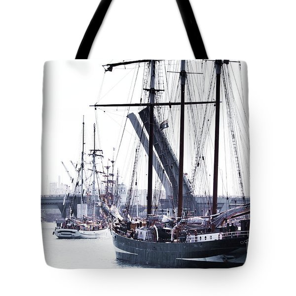 Tote Bag featuring the photograph Oosterschelde Leaving Port by Stephen Mitchell