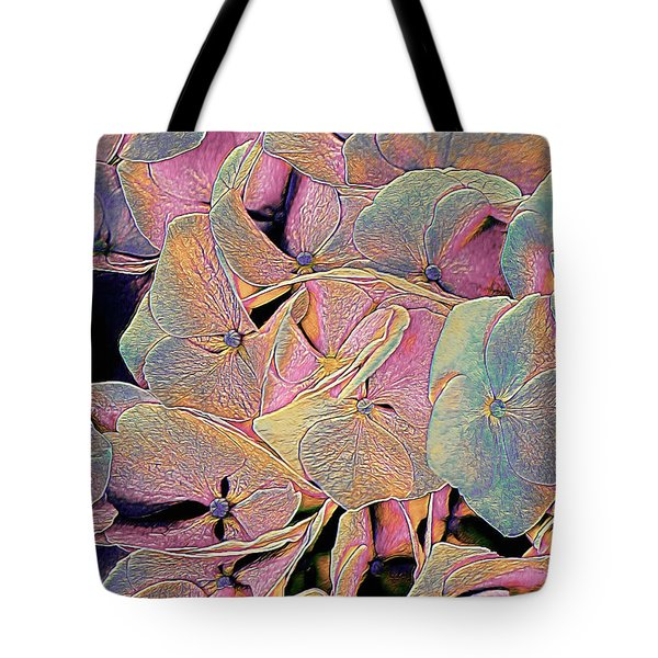 Tote Bag featuring the mixed media Opal Hydrangea by Susan Maxwell Schmidt