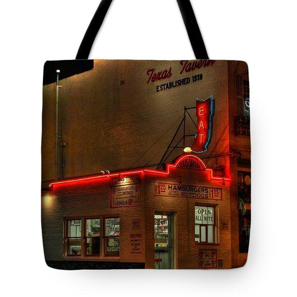 Open All Nite-texas Tavern Tote Bag