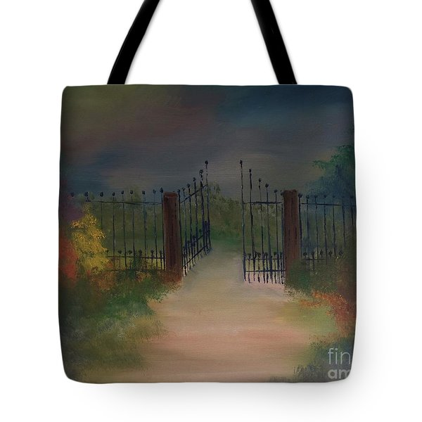 Tote Bag featuring the painting Open Gate by Denise Tomasura