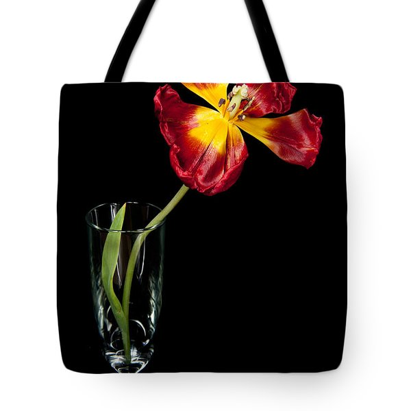 Open Red Tulip In Vase Tote Bag