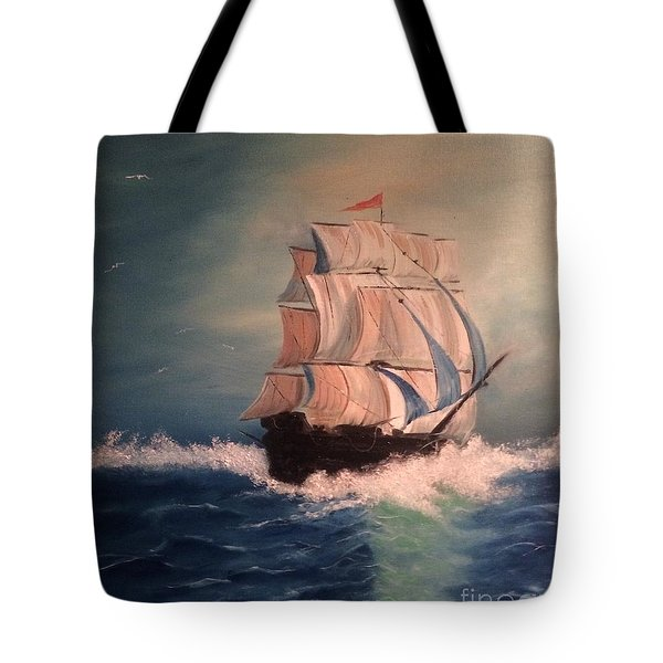 Tote Bag featuring the painting Open Seas by Denise Tomasura