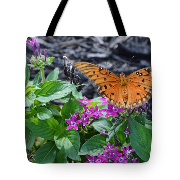 Open Wings Of The Gulf Fritillary Butterfly Tote Bag