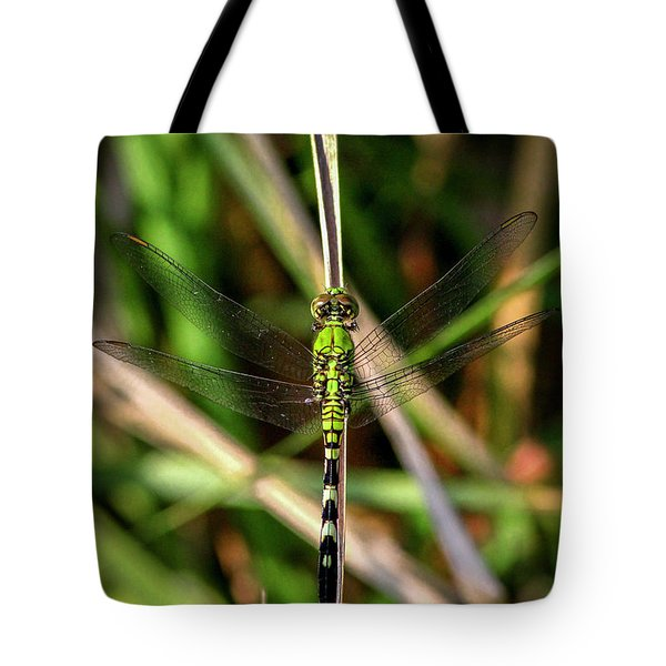 Tote Bag featuring the photograph Openminded Green Dragonfly Art by Reid Callaway