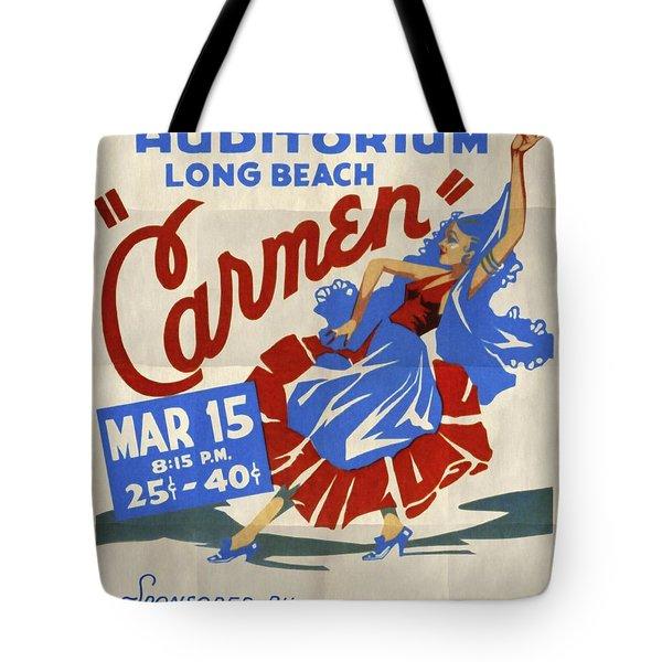 Opera Carmen In Long Beach - Vintage Poster Folded Tote Bag