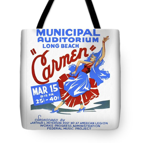 Opera Carmen In Long Beach - Vintage Poster Restored Tote Bag
