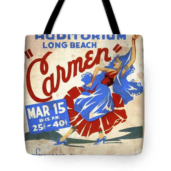 Opera Carmen In Long Beach - Vintage Poster Vintagelized Tote Bag