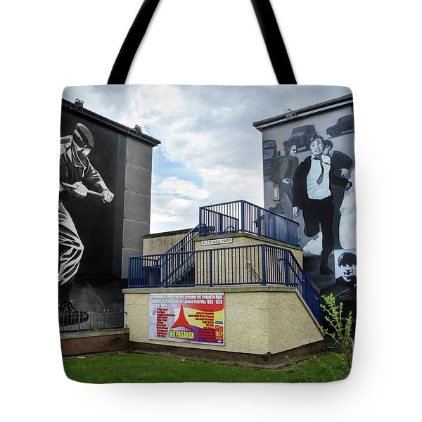 Tote Bag featuring the photograph Operation Motorman Mural In Derry by RicardMN Photography