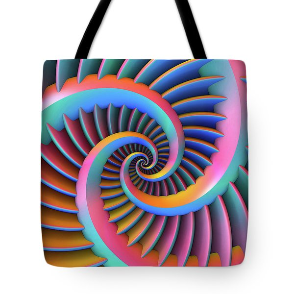 Tote Bag featuring the digital art Opposing Spirals by Lyle Hatch