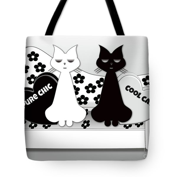 Opposites Attract - Black And White Cats On The Sofa Tote Bag