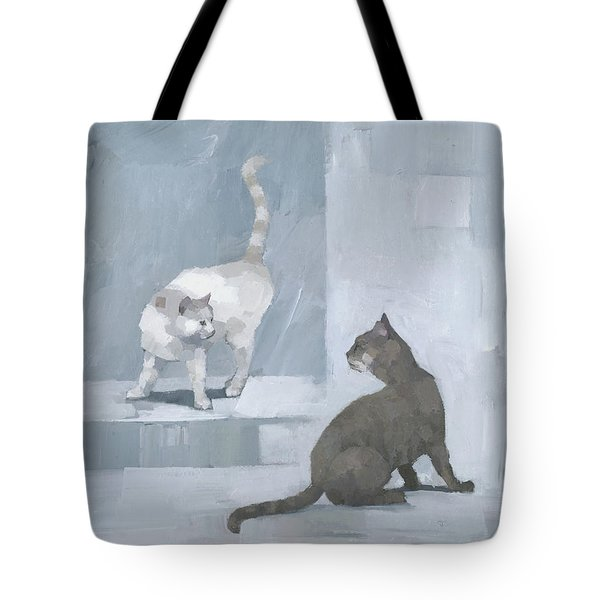 Tote Bag featuring the painting Opposites by Steve Mitchell
