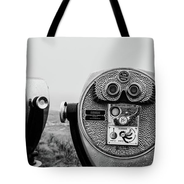 Tote Bag featuring the photograph Optical Coin Operated Binoculars At Chatham Beach Cape Cod by Edward Fielding