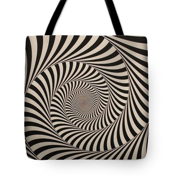Optical Illusion Beige Swirl Tote Bag