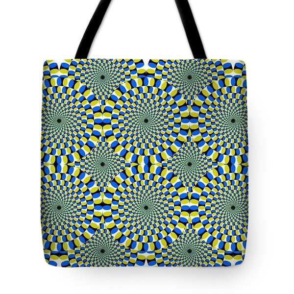 Optical Illusion Spinning Circles Tote Bag