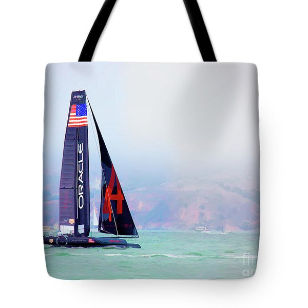 Oracles Usa  America's Cup Paint  Tote Bag