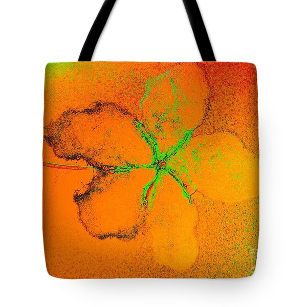 Orange Abstract Flower By Jasna Gopic Tote Bag by Jasna Gopic