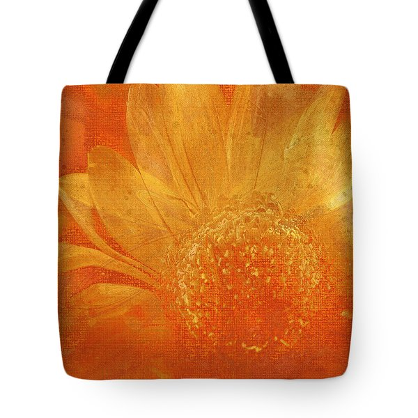 Tote Bag featuring the digital art Orange Abstract Flower by Fine Art By Andrew David