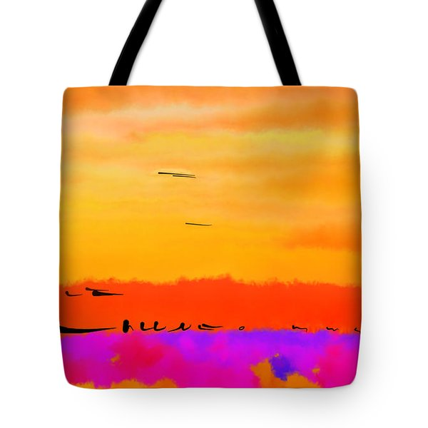 Tote Bag featuring the digital art Orange Abstract Sunset by Kirt Tisdale