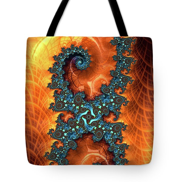 Tote Bag featuring the digital art Orange And Cyan Fractal Art by Matthias Hauser
