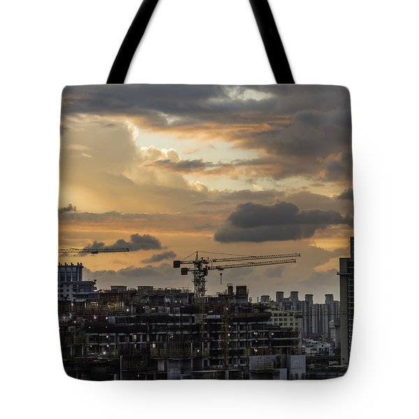 Orange And Grey Tote Bag by Rajiv Chopra
