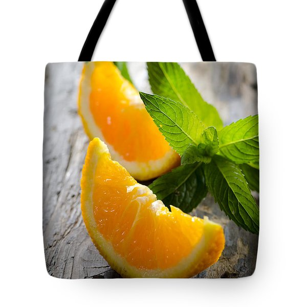 Orange And Mint Tote Bag