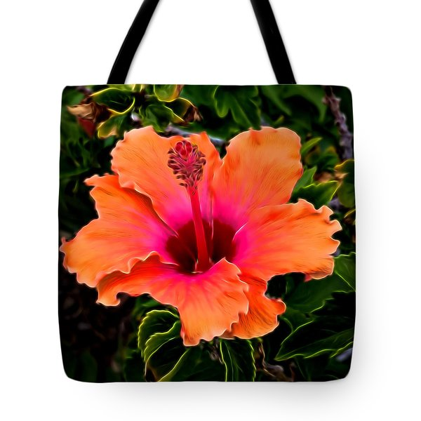 Orange And Pink Hibiscus 2 Tote Bag by Pamela Walton