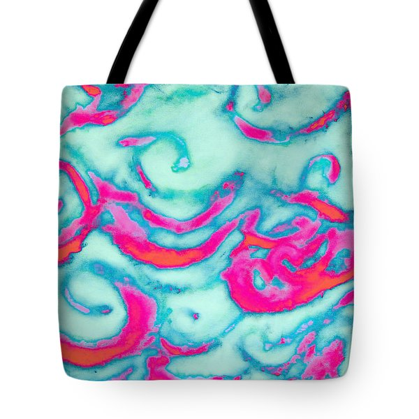Orange And Pink Waves Tote Bag