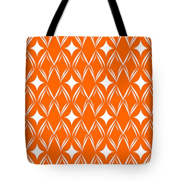 Orange And White Diamonds Tote Bag by Linda Woods